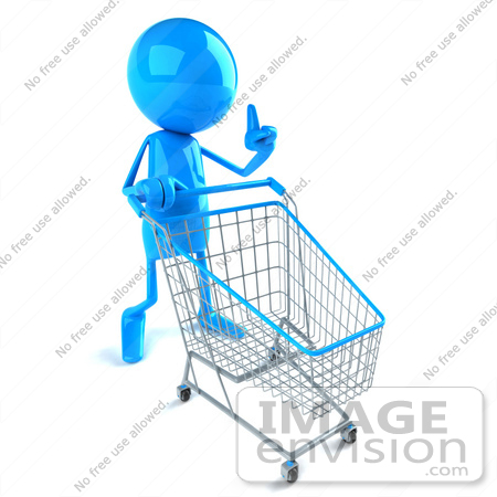 #43996 Royalty-Free (RF) Illustration of a 3d Blue Man Mascot Pushing A Shopping Cart - Version 1 by Julos