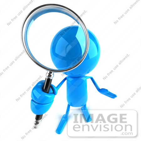 #43997 Royalty-Free (RF) Illustration of a 3d Blue Man Mascot Using A Magnifying Glass - Version 4 by Julos