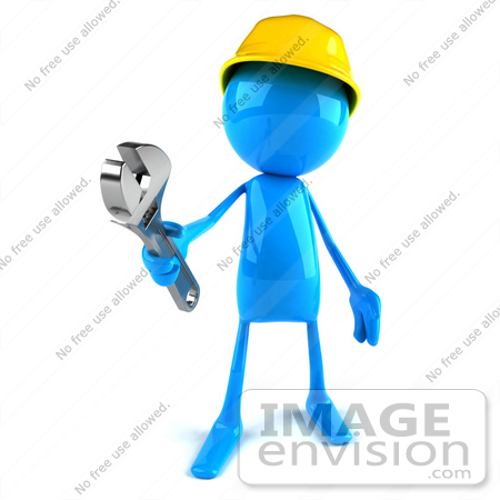 #44002 Royalty-Free (RF) Illustration of a 3d Blue Man Builder Mascot Holding A Wrench - Version 1 by Julos