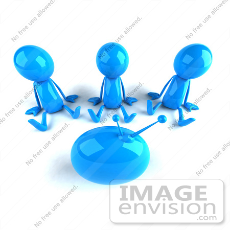 #44029 Royalty-Free (RF) Illustration of 3d Blue Man Mascots Watching Television - Version 3 by Julos