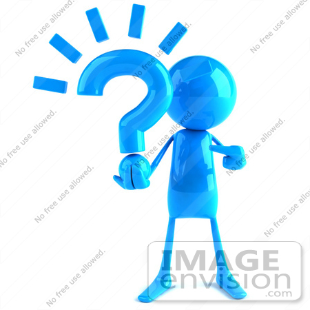 #44030 Royalty-Free (RF) Illustration of a 3d Blue Man Mascot Holding A Question Mark - Version 1 by Julos