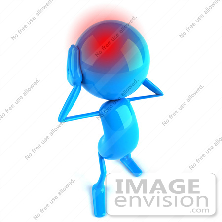 #44042 Royalty-Free (RF) Illustration of a 3d Blue Man Mascot With A Migraine by Julos