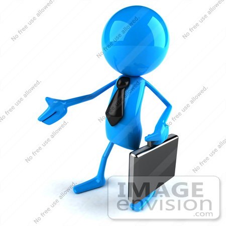 #44045 Royalty-Free (RF) Illustration of a 3d Blue Man Mascot Carrying A Briefcase And Reaching Out To Shake Hands - Version 2 by Julos