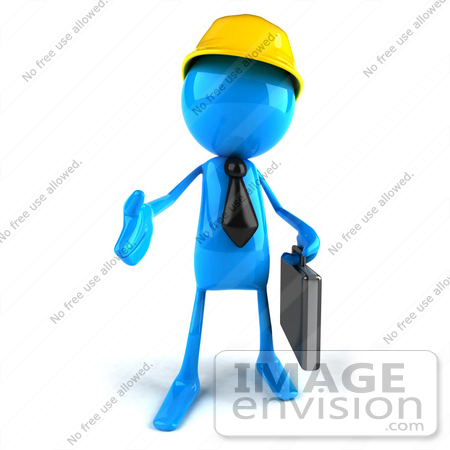 #44049 Royalty-Free (RF) Illustration of a 3d Blue Man Mascot Contractor Reaching Out To Shake Hands - Version 1 by Julos