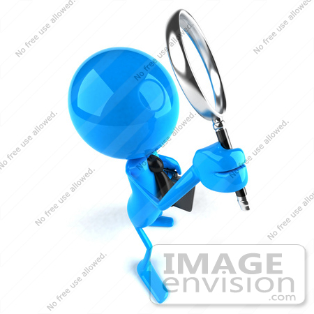 #44057 Royalty-Free (RF) Illustration of a 3d Blue Man Mascot Using A Magnifying Glass - Version 3 by Julos