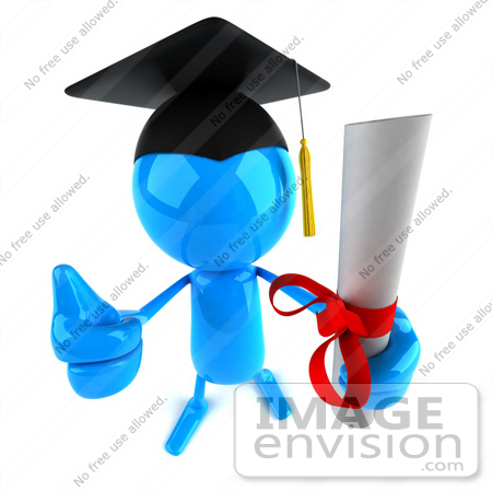 #44058 Royalty-Free (RF) Illustration of a 3d Blue Man Mascot Graduate Holding His Diploma - Version 4 by Julos