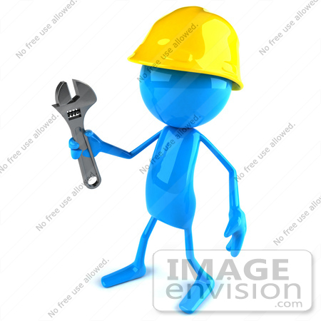#44068 Royalty-Free (RF) Illustration of a 3d Blue Man Builder Mascot Holding A Wrench - Version 2 by Julos
