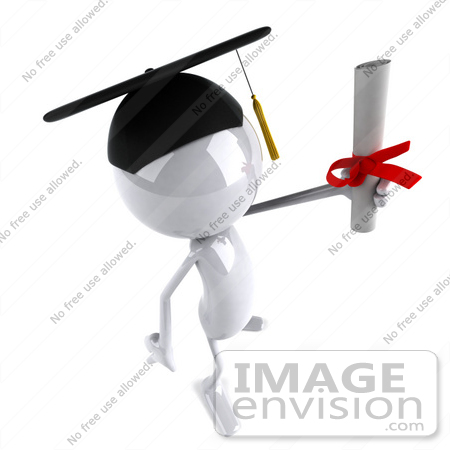 #44072 Royalty-Free (RF) Illustration of a 3d White Man Mascot Graduate Holding A Diploma - Version 8 by Julos