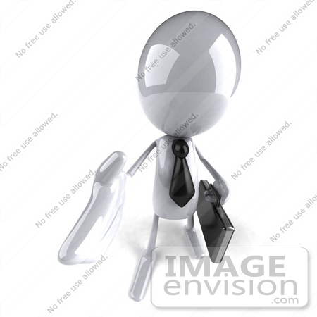 #44074 Royalty-Free (RF) Illustration of a 3d White Man Mascot Businessman Reaching Out To Shake Hands - Version 3 by Julos