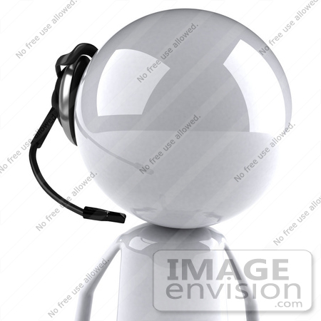 #44077 Royalty-Free (RF) Illustration of a 3d White Man Mascot Wearing A Headset - Version 3 by Julos