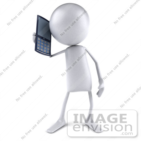 #44093 Royalty-Free (RF) Illustration of a 3d White Man Mascot Holding A Cell Phone - Version 1 by Julos