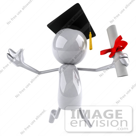 #44101 Royalty-Free (RF) Illustration of a 3d White Man Mascot Graduate Holding A Diploma - Version 4 by Julos