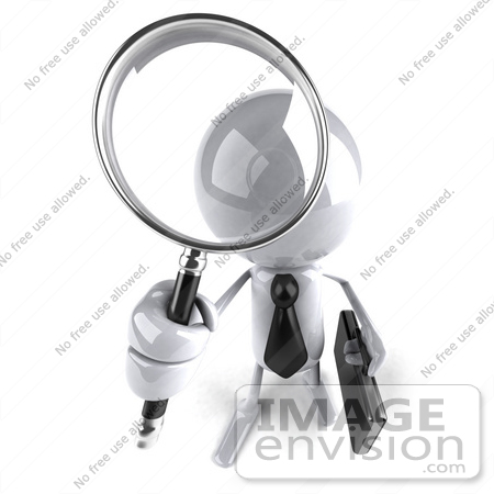#44103 Royalty-Free (RF) Illustration of a 3d White Man Mascot Using A Magnifying Glass - Version 4 by Julos