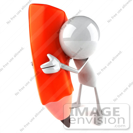 #44107 Royalty-Free (RF) Illustration of a 3d White Man Mascot Holding A Large Pencil - Version 7 by Julos