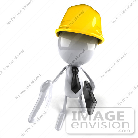 #44108 Royalty-Free (RF) Illustration of a 3d White Man Contractor Mascot Reaching Out To Shake Hands - Version 3 by Julos