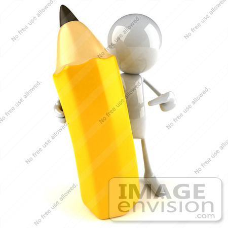 #44119 Royalty-Free (RF) Illustration of a 3d White Man Mascot Holding A Large Pencil - Version 2 by Julos
