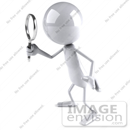#44120 Royalty-Free (RF) Illustration of a 3d White Man Mascot Using A Magnifying Glass - Version 6 by Julos