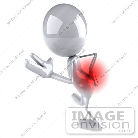#44124 Royalty-Free (RF) Illustration of a 3d White Man Mascot With Lower Back Pain - Version 3 by Julos