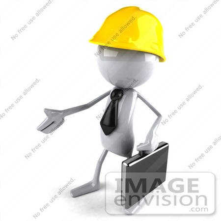 #44130 Royalty-Free (RF) Illustration of a 3d White Man Contractor Mascot Reaching Out To Shake Hands - Version 2 by Julos