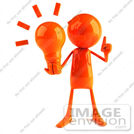 #44140 Royalty-Free (RF) Illustration of a 3d Red Man Mascot Holding A Light Bulb - Version 1 by Julos