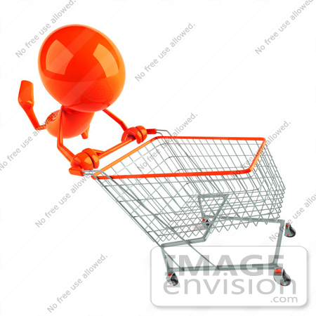#44149 Royalty-Free (RF) Illustration of a 3d Red Man Mascot Pushing A Shopping Cart - Version 2 by Julos