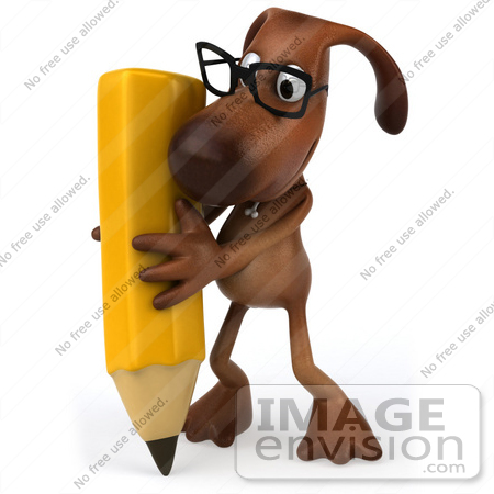 #44172 Royalty-Free (RF) Cartoon Illustration of a 3d Brown Dog Mascot Holding a Pencil - Pose 2 by Julos