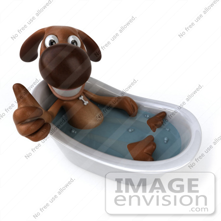 #44176 Royalty-Free (RF) Cartoon Illustration of a 3d Brown Dog Mascot Taking a Bath - Pose 5 by Julos
