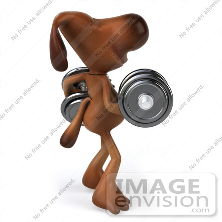 #44183 Royalty-Free (RF) Cartoon Illustration of a 3d Brown Dog Mascot Lifting Weights - Pose 2 by Julos