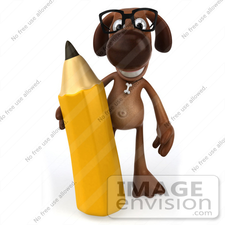 #44188 Royalty-Free (RF) Cartoon Illustration of a 3d Brown Dog Mascot Holding a Pencil - Pose 1 by Julos