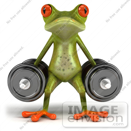#44192 Royalty-Free (RF) Illustration of a 3d Red Eyed Tree Frog Mascot Lifting Weights - Pose 1 by Julos