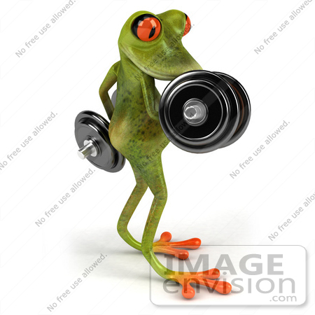 #44197 Royalty-Free (RF) Illustration of a 3d Red Eyed Tree Frog Mascot Lifting Weights - Pose 4 by Julos