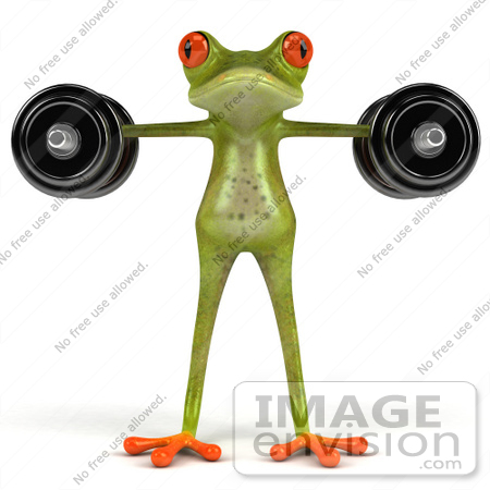 #44198 Royalty-Free (RF) Illustration of a 3d Red Eyed Tree Frog Mascot Lifting Weights - Pose 7 by Julos