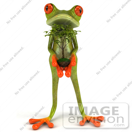 #44204 Royalty-Free (RF) Illustration of a 3d Red Eyed Tree Frog Mascot Presenting a Bonsai by Julos