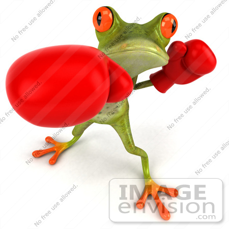 #44221 Royalty-Free (RF) Illustration of a 3d Red Eyed Tree Frog Mascot Boxing - Version 1 by Julos