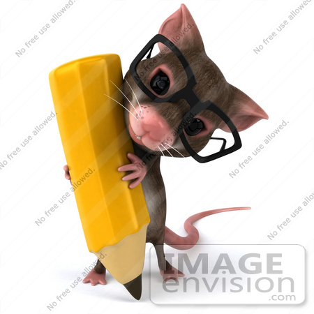 #44223 Royalty-Free (RF) Illustration of a 3d Mouse Mascot Holding a Pencil - Pose 2 by Julos