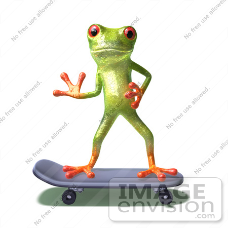 #44237 Royalty-Free (RF) Illustration of a Cute Green 3d Frog Skateboarding - Pose 5 by Julos