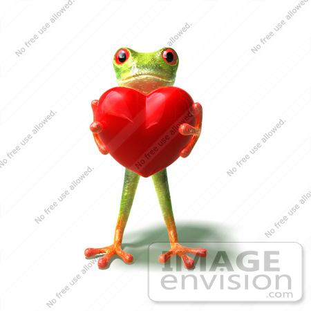 #44244 Royalty-Free (RF) Illustration of a Cute Green 3d Frog Holding A Love Heart - Pose 1 by Julos