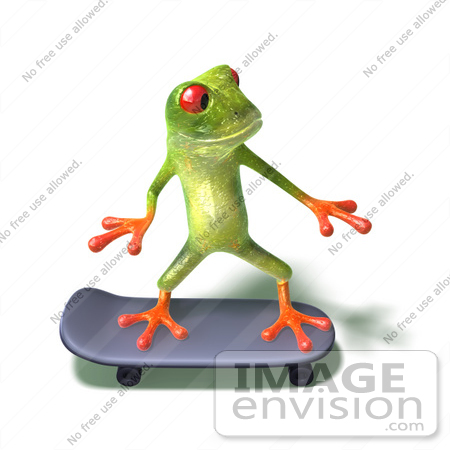 #44256 Royalty-Free (RF) Illustration of a Cute Green 3d Frog Skateboarding - Pose 4 by Julos