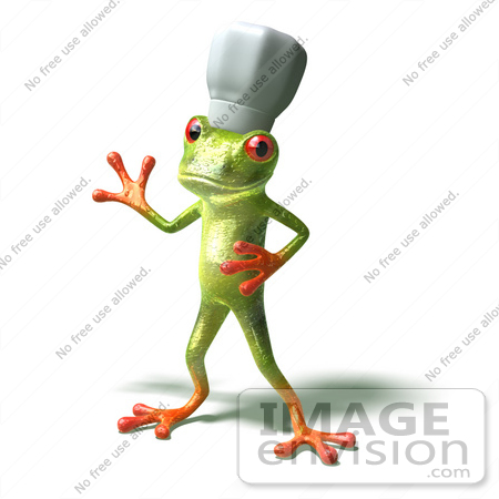 #44262 Royalty-Free (RF) Illustration of a Cute Green 3d Frog Chef Wearing A Hat - Pose 4 by Julos