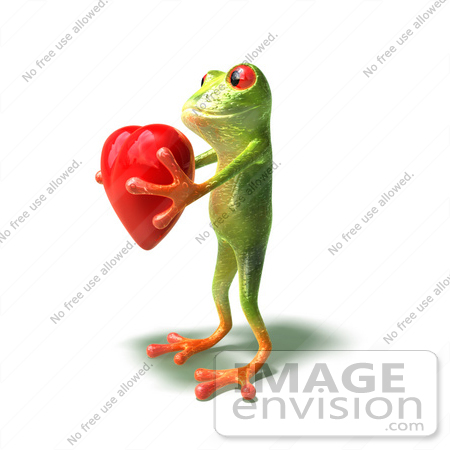#44263 Royalty-Free (RF) Illustration of a Cute Green 3d Frog Holding A Love Heart - Pose 3 by Julos