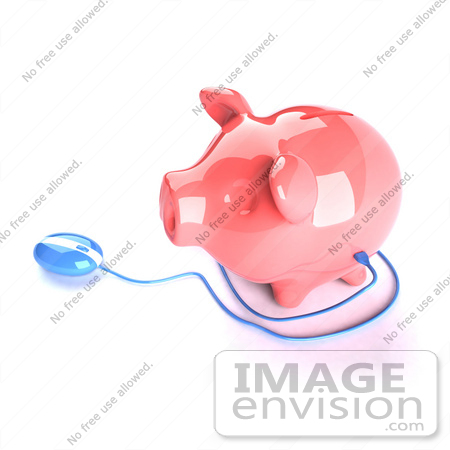 #44276 Royalty-Free (RF) Illustration of a 3d Blue Computer Mouse Around A Pink Piggy Bank - Pose 1 by Julos
