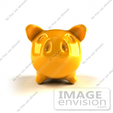 #44278 Royalty-Free (RF) Illustration of a 3d Yellow Shiny Piggy Bank - Version 3 by Julos