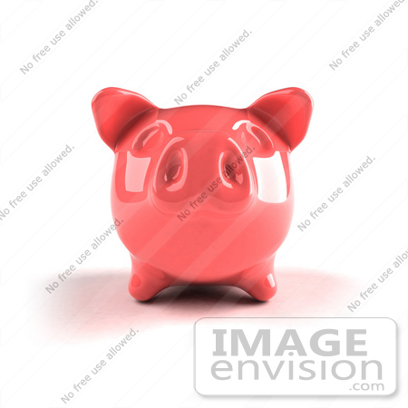 #44281 Royalty-Free (RF) Illustration of a 3d Pink Shiny Piggy Bank - Version 3 by Julos