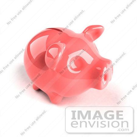 #44283 Royalty-Free (RF) Illustration of a 3d Pink Shiny Piggy Bank - Version 4 by Julos