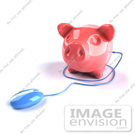 #44288 Royalty-Free (RF) Illustration of a 3d Blue Computer Mouse Around A Pink Piggy Bank - Pose 3 by Julos