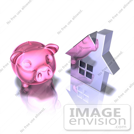 #44291 Royalty-Free (RF) Illustration of a 3d Pink Piggy Bank By A Silver House - Pose 2 by Julos
