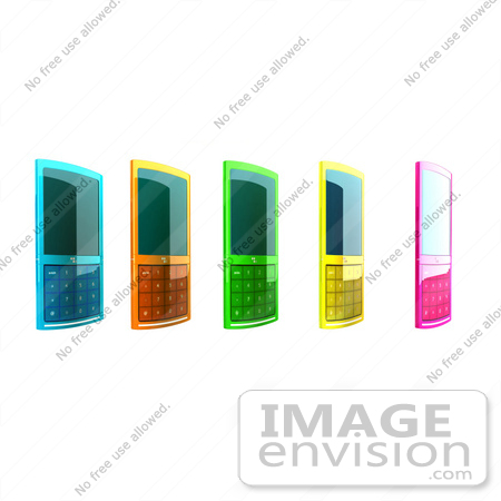 #44311 Royalty-Free (RF) Clipart Illustration of Five Colorful 3d Cellphones in a Row - Version 2 by Julos