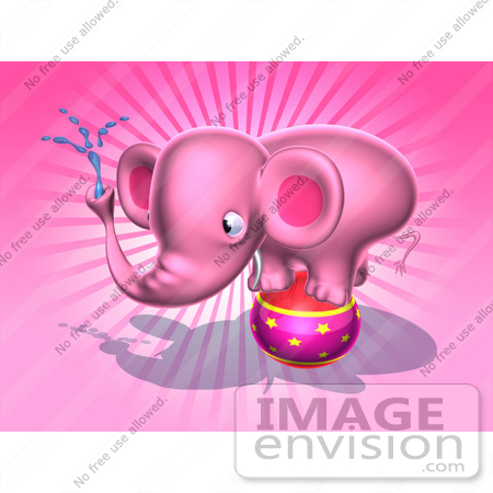 #44367 Royalty-Free (RF) Illustration of a 3d Pink Elephant Mascot Standing On A Circus Ball And Spraying Water - Pose 4 by Julos