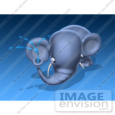 #44370 Royalty-Free (RF) Illustration of a 3d Blue Elephant Mascot Spraying Water - Pose 2 by Julos