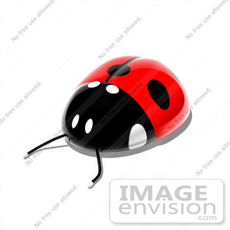 #44374 Royalty-Free (RF) Illustration of a 3d Shiny Ladybug - Pose 3 by Julos